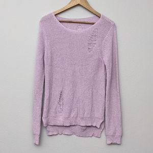 Lavender Distressed Sweater Medium
